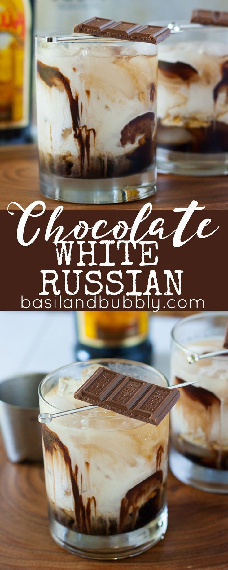 A dessert cocktail recipe everyone will love: Chocolate White Russians. Made with Kahlua, Vodka, Cream, Chocolate Syrup, and garnished with a chocolate bar. More