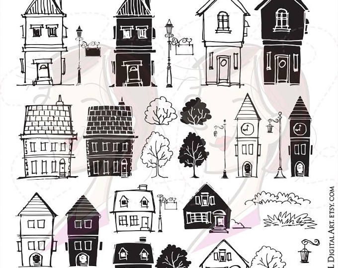 Doodle House Clipart House Vector Art Home House City Town House Png Home Vector Download House Illustrations 101 House Silhouette Clip Art How To Draw Hands