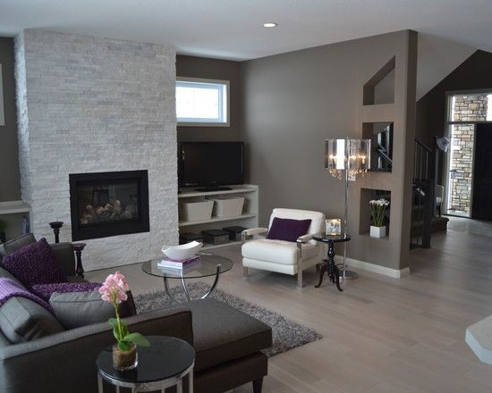 Nice gray tones and purple accent contrast, very stilish wood flooring  #house #modern #idea