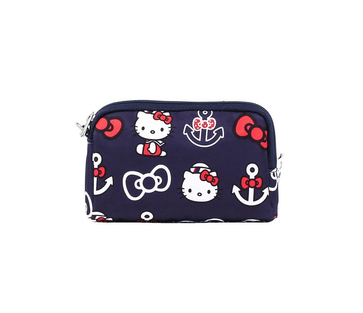 """Ju-Ju-Be x Hello Kitty Summer 2016 Collection """"Be Set"""" Set Of 3 Pouches in Out To Sea (Item # 59634-201607), $50 via Sanrio.Com (View #4 of 4, Detail of Smallest Pouch)"""