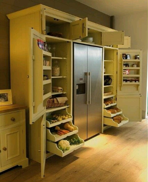 13 Best Kitchen And Pantry Organization Ideas: Refrigerator With Surrounding Pantry. No More Wandering