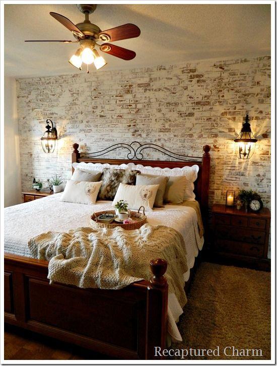 Master Bedroom Makeover faux brick paneling german smear