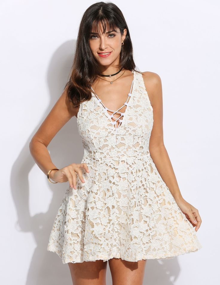 White V-neck Lace-up Front High Waist Hollow Crochet Going Out Dress