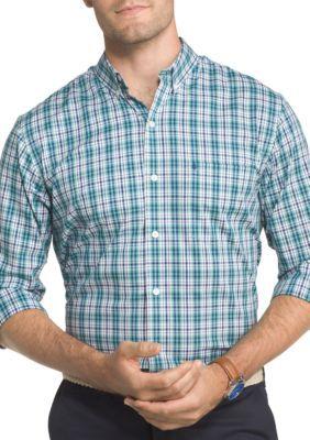 Izod Men's Long Sleeve Advantage Performance Stretch Tattersall Shirt - Agate Green - Xlarge