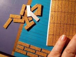 Ladrillos  con lamina de corcho adhesiva
