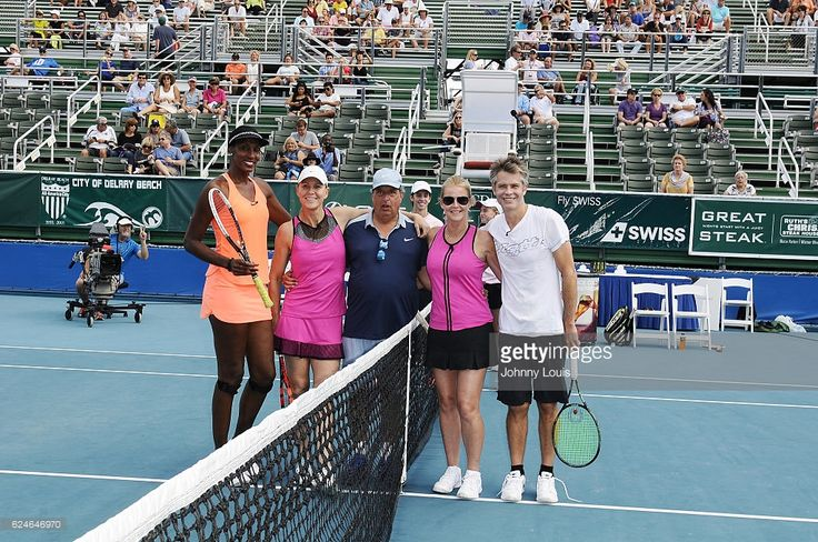 Lisa Leslie, Rennae Stubbs, Jon Lovitz, Maeve Quinlan and Timothy Olyphant participate in the 27th Annual Chris Evert/Raymond James Pro-Celebrity Tennis Classic at Delray Beach Tennis Center on November 19, 2016 in Delray Beach, Florida.