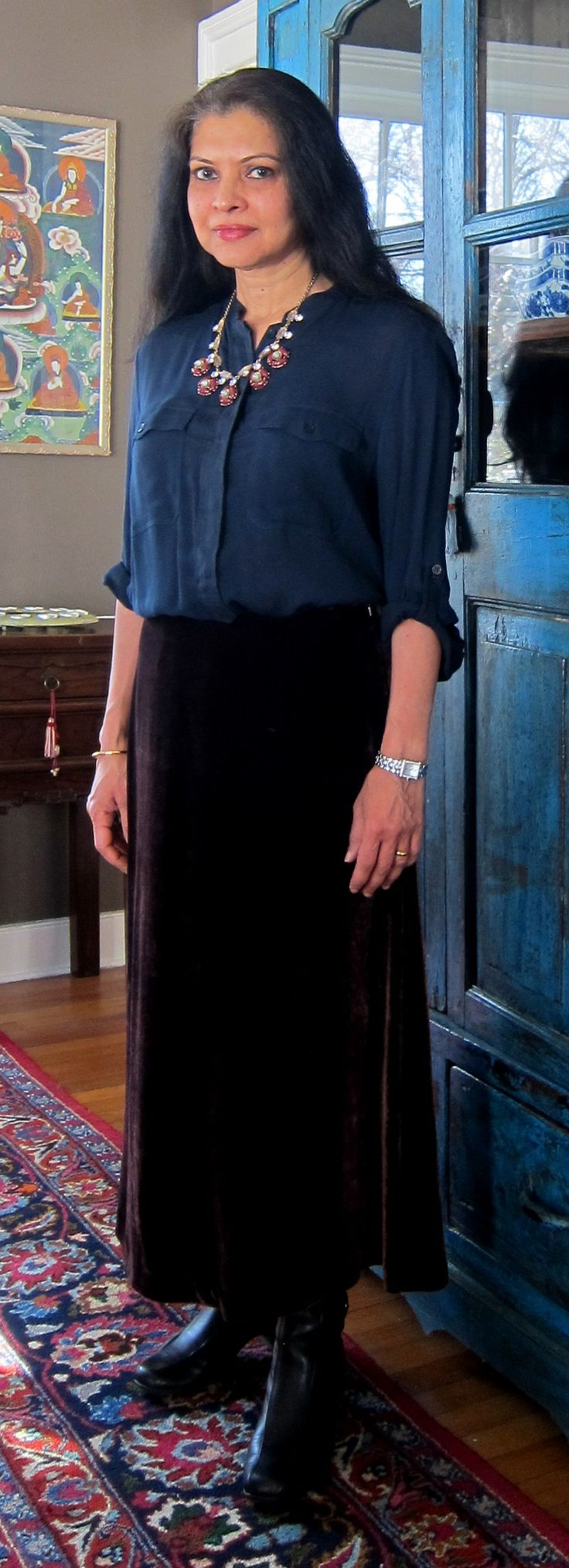 Massimo Dutti linen/rayon top with Jones of New York aubergine velvet skirt, J. Crew necklace and Clarks ankle boots - 2018
