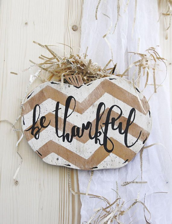 Chervon Be Thankful Pumpkin sign Front door sign