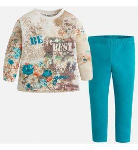 Dievčenský pletený sveter s legínami Mayoral - opal