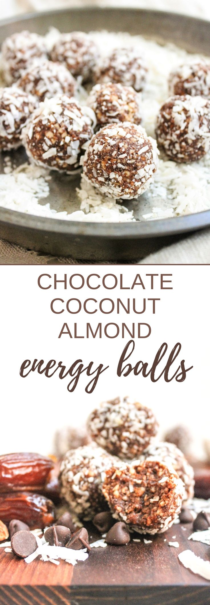 These Chocolate Coconut Almond Energy Balls are quick, easy, and healthy - yet taste like a candy bar! They're a great way to satisfy sweet cravings with some thing a little healthier, plus they're vegan and gluten free! | healthy snack ideas | homemade almond joy | chocolate energy ball recipe | vegan snack recipes |