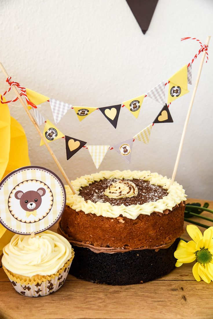Teddy Bear Picnic cake bunting and cupcake topper by Hunters Rose