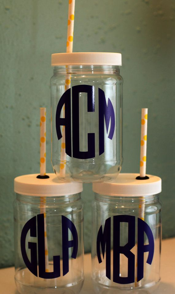 Personalized Plastic Mason Jar Cups   Circle by RememberedOnceMore, $5.00