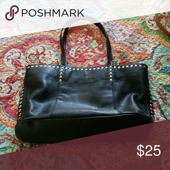 Black Italian Leather Handbag Very nice Black Italian Leather Handbag by: Clarks Bags