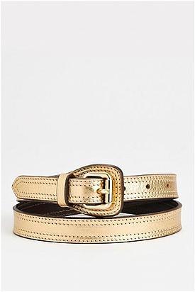 Burberry Metallic Leather Thin Belt - Enviius