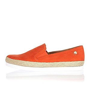 Orange espadrille plimsoles