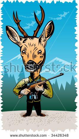 Deer hunter holding a rifle #deerhunter #woodcut #illustration