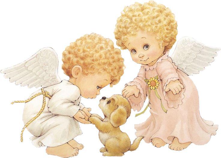 Ангелочки анимашки, нарисованные художником