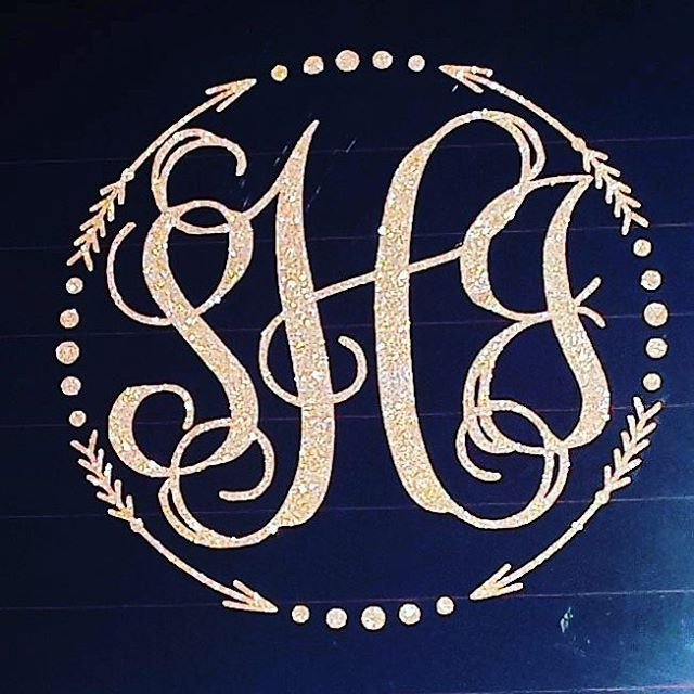 10 inch custom monogram car decal in gold glitter please add initials to order first last middle