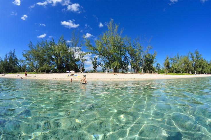 Plage, filaos et lagon - Ermitage - Ile de La Réunion
