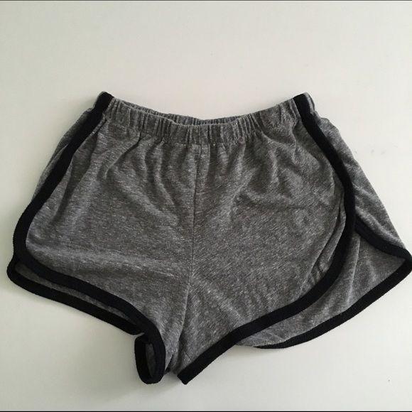 Brandy Melville Lisette Shorts heather grey, black piping, dolphin hem style. Brandy Melville Shorts