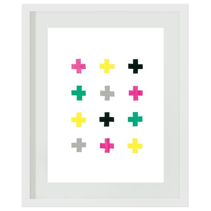 Crosses: #girls #crosses #pink #green #yellow #bedroom #tween #wallart #artprint