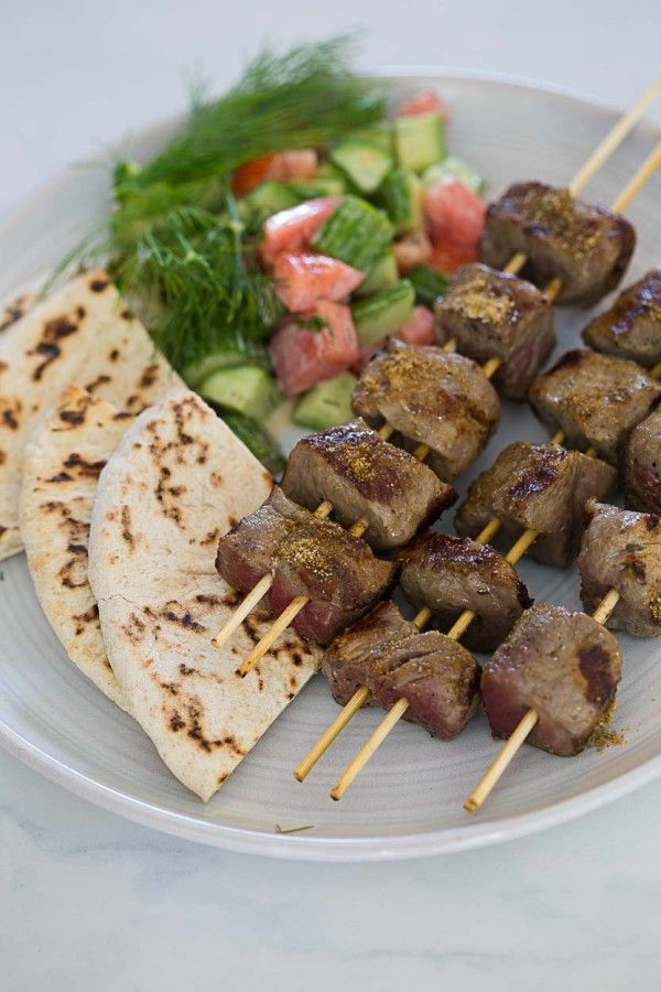 Cumin-Spiced Beef Kebabs with Hummus and Pita - Cook Smarts