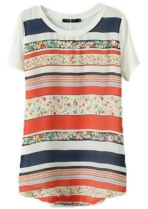 Orange Short Sleeve Striped Floral T-Shirt