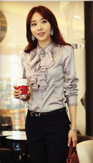 Ruffled blouse for office ladies