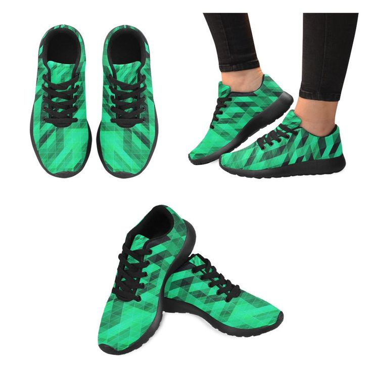 Sneakers men green and black large size