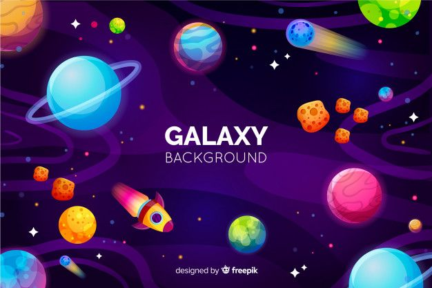 Galaxy Background With Colorful Planets Vector Free Download Galaxy Background Galaxy Theme 1st Birthday Parties