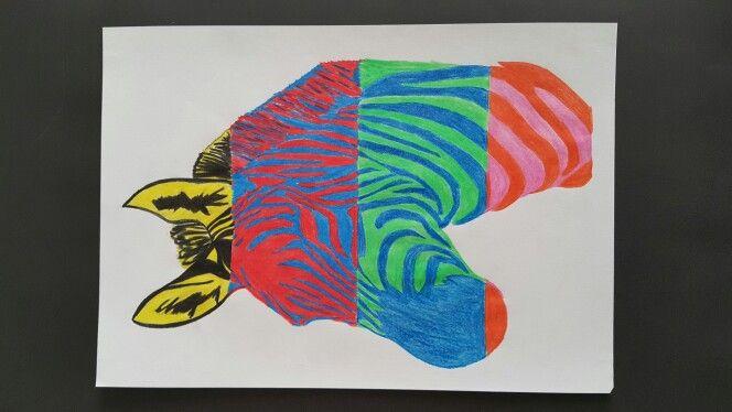 Zebra with Crayons
