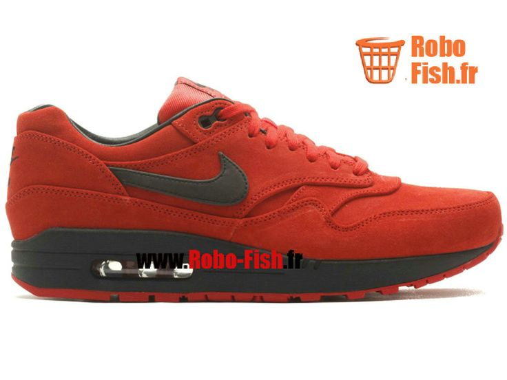Nike Air Max 1 Prm - Chaussure Nike Running Pas Cher Pour Homme Rouge/Noir 512033-610