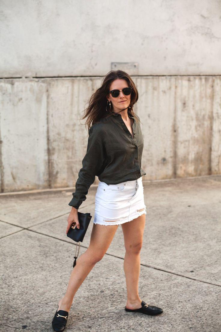 Premium Linen shirt from Uniqlo, denim mini skirt, black and gold slides from Midas  worn by Inspiring Wit fashion blogger Jenelle http://www.inspiringwit.com/premium-linen-summer-long/