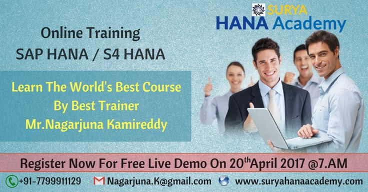 We are conducting SAP HANA/S4HANA Live Demo On Thursday (20 - April) at 8PM (IST) Surya Hana Academy  SAP HANA Online Training If learning is your desire, Teaching is our passion. Come and Join Us ! Register Now For Free Live Demo.   https://attendee.gotowebinar.com/register/8450813767689033985?source=sh1