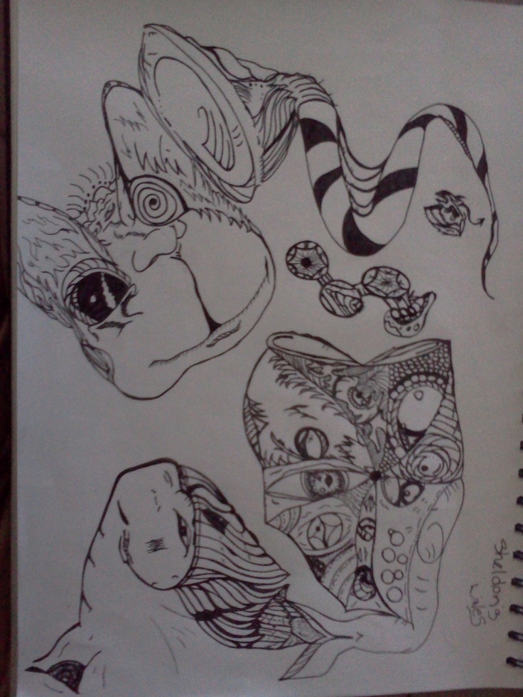 Most of my doodles are from others just drawing me some lines on a paper and I just go from there (Sheldons lines)