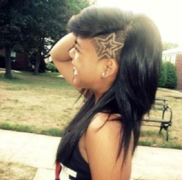 Star shape shaved in hair