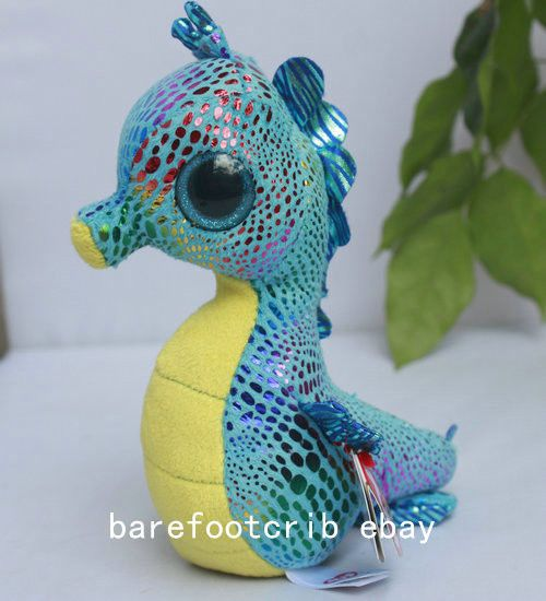 """NWT Ty BEANIE BOOS 2014 Neptune BLUE Seahorse 6"""" Stuffed PLUSH DOLL TOY ~in hand #Ty"""