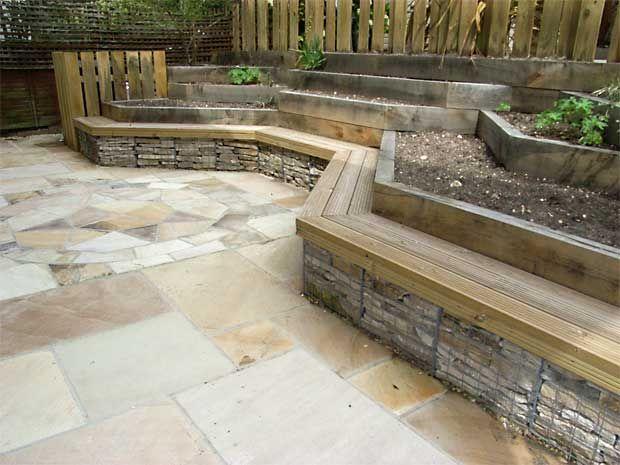 gabions used to recycle an old patio- gabions suppliers Devoran Garden Gabions http://www.devoran-garden-gabions.co.uk/gabion-baskets-projects.php