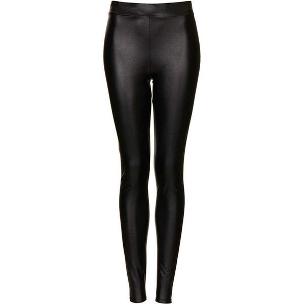 TOPSHOP Textured Leather Look Leggings (€6,79) ❤ liked on Polyvore featuring pants, leggings, jeans, bottoms, calças, black, black trousers, black checkered pants, checked pants and black pants