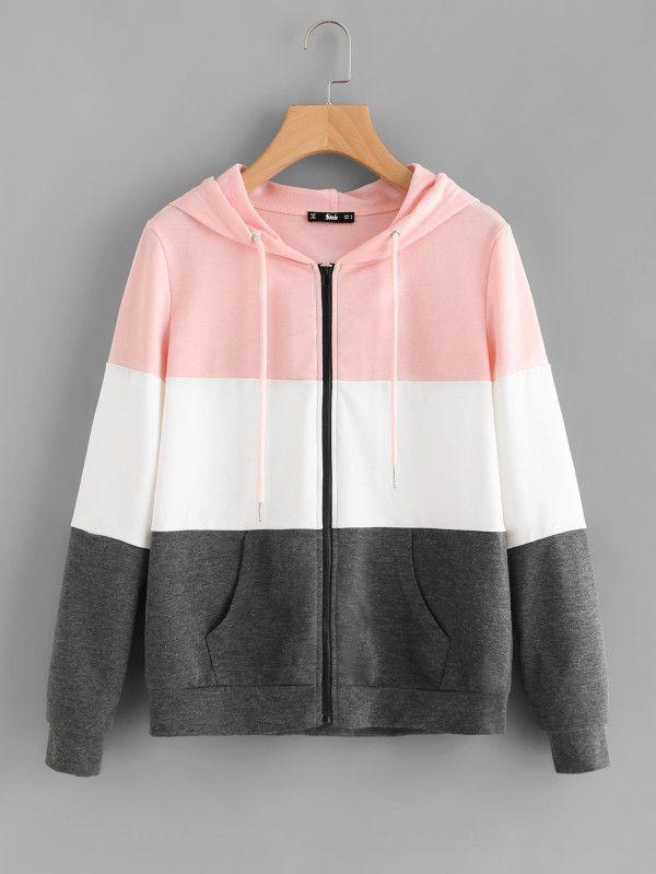 a194001ef Cut And Sew Hoodie Jacket -SheIn(Sheinside)Boho fashion | trendy clothes |  new fashion | fashion ideas | hot tops | pullover hoodies | zip up hoodies|  ...