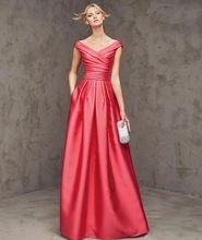 New Arrival vestidos de festa da luva do tampão moda vermelho elegante de cetim V - pescoço a-line vestido longo andar de comprimento longo vestido de noite(China (Mainland))