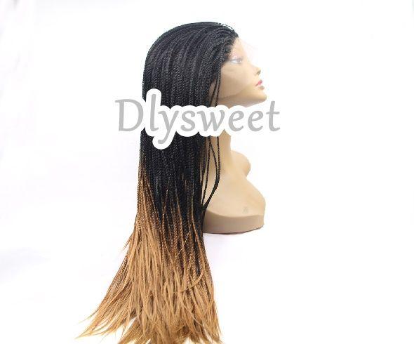 Front lace  wig perruque tressée cheveux semi-synthétiques 1BT27