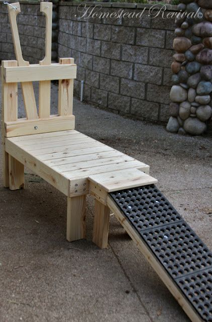 goat milking stanchion - LOVE the ramp, would make things so much easier with some of the goats...