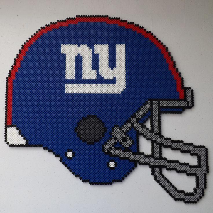 NY Giants Football Helmet Perler Bead Art by kamikazekeeg on deviantART
