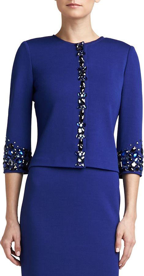 St. John Milano Knit Jewel Neck 3/4-Sleeve Jacket with Hand Beading on shopstyle.com