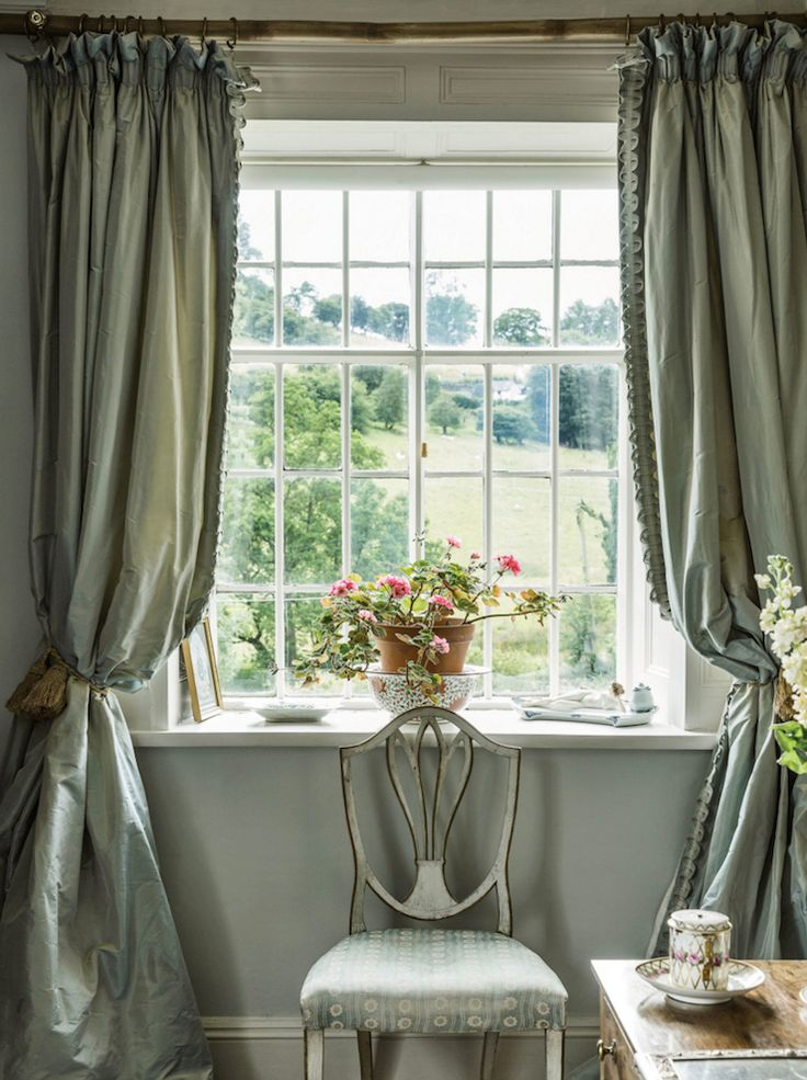 In the guest room of the decorator Jane Ormsby Goreu0027s house in the  countryside of north Wales, the colors of the walls and the silk taffeta  curtains reflect ...
