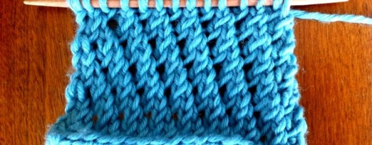 Open Mesh Knitting Stitches : Example of the Slanting Open-Work Stitch/a basic lace stitch pattern that use...
