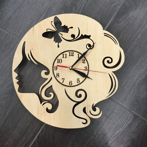 Barber Shop Equipment Design Wood Wall Clock  by 7ArtsStudio