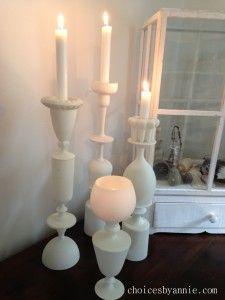 Ljusstakar av spraymålade glas. Annie för Monthly Makers februari, tema återbruk.
