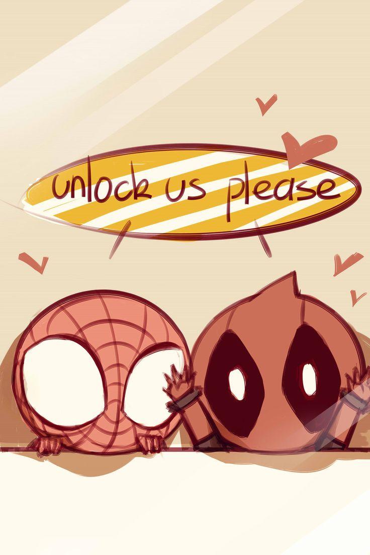 Spiderman + Deadpool Lockscreen (1024×1536)